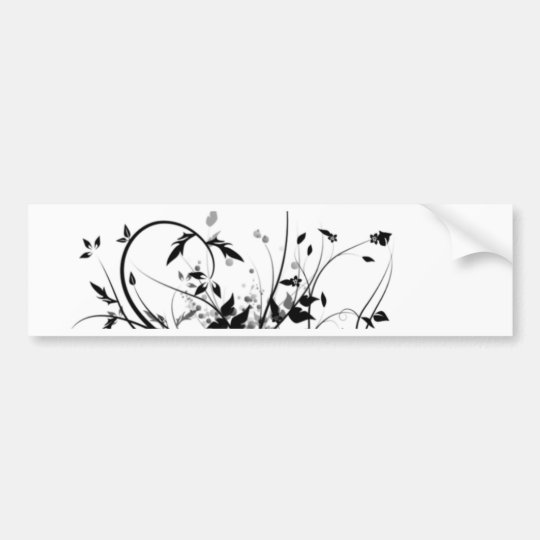 Black And White Flowers Bumper Sticker