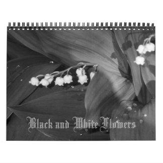Black and White Flowers Calendar