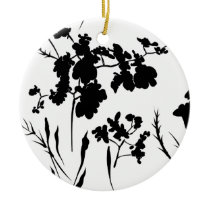 Black and white flowers ceramic ornament