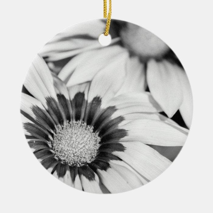 Black and White Flowers Ceramic Ornament