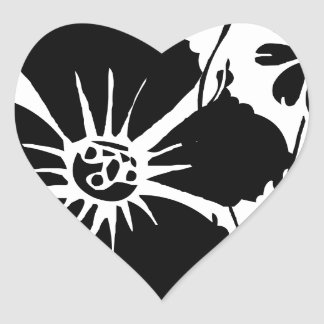 Black and White Flowers Heart Sticker