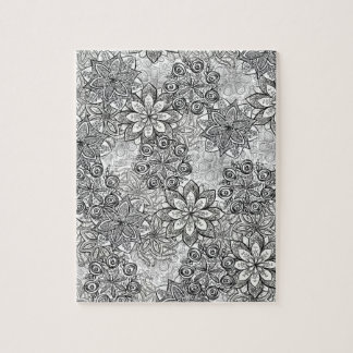 Black and White Flowers Jigsaw Puzzle