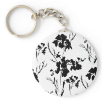 Black and white flowers keychain