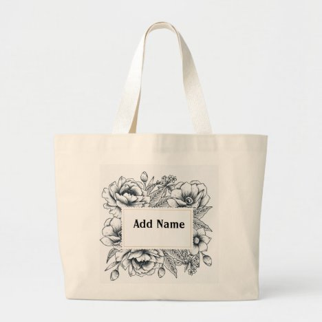Black and White Flowers Large Tote Bag