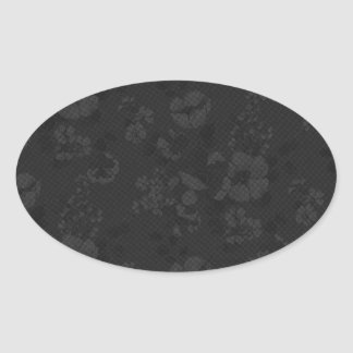 Black and White Flowers Oval Sticker