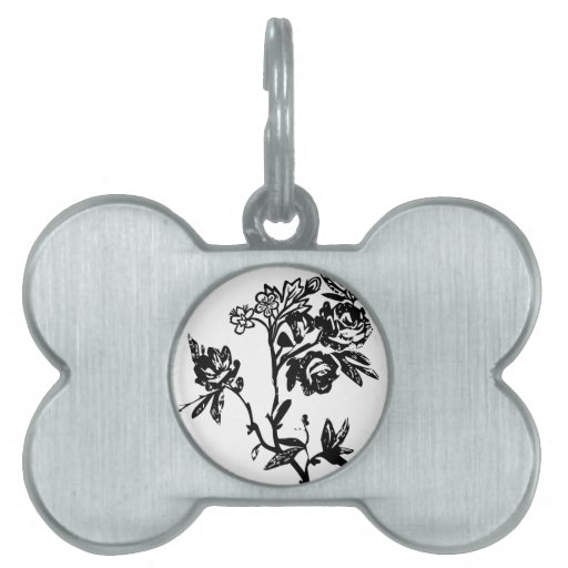 Black and White Flowers Pet Tag