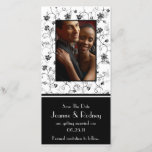 """Black and White Flowers Photo Save The Date<br><div class=""""desc"""">Striking black on a white background adorned with black flowers.  Announce your wedding date or birthday or anniversary in style. If you need to move the text,  or change the size,  font,  or color,  click Customize It!</div>"""