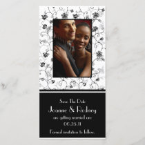 Black and White Flowers Photo Save The Date