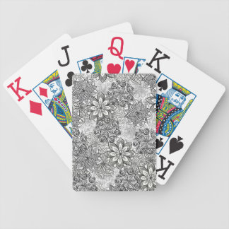 Black and White Flowers Playing Cards