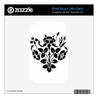 Black and White Flowers Decal For iPod Touch 4G