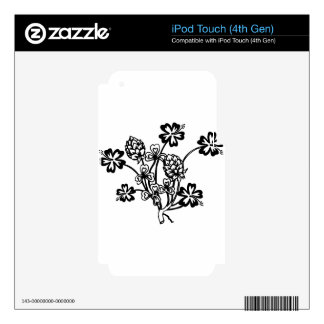 Black and White Flowers Decals For iPod Touch 4G