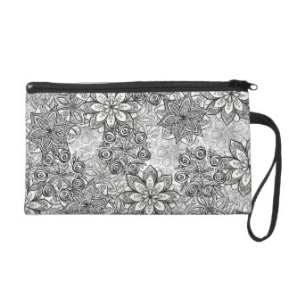 Black and White Flowers Small Bag Wristlet Purse