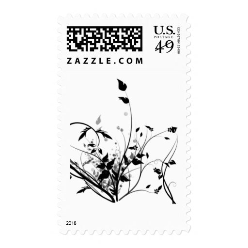 Black And White Flowers Stamps