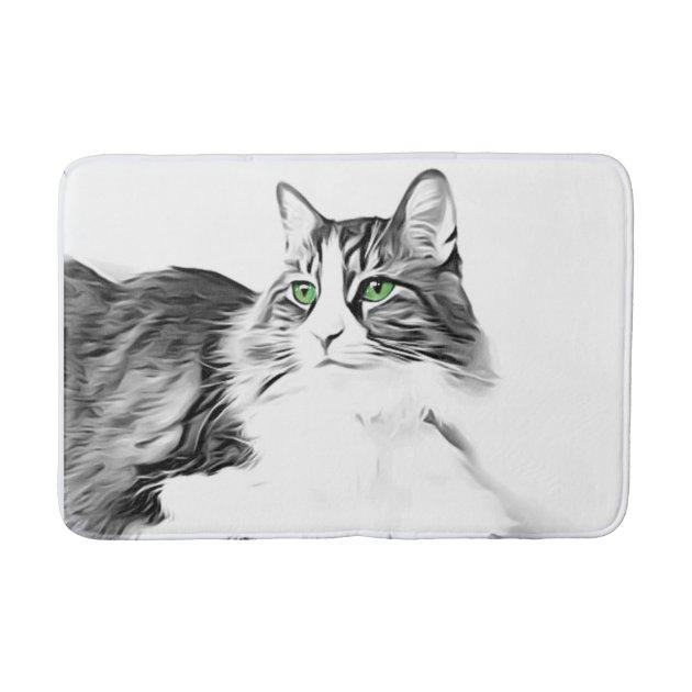 Black And White Fluffy Cat Green Eyes Bath Mat Zazzle Com