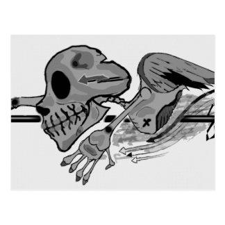 Black and White Flying Skull Postcard