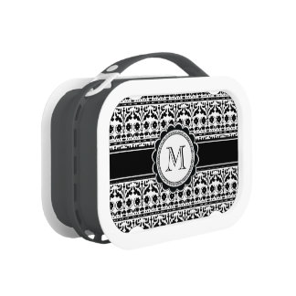 Black and White Folk Art Floral Damask Lunch Boxes