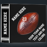 """Black and White Football Binder Album PERSONALIZED<br><div class=""""desc"""">Personalized Black and White Football Binder Album for years of football memories. Cool vintage football image on the front and jersey look football binder on the back. Type in his NAME, Jersey Number or Monogram and his football team name or Your Text. Delete any or all text. Click &quot;Customize&quot; Button...</div>"""