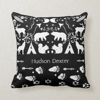 Black and White Forest Creatures Animal Tracks Throw Pillow