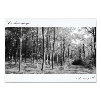 black and white forest path wedding invitation