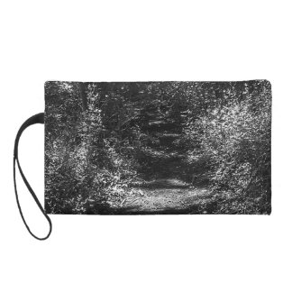 Black and white forest print women's mini-clutch wristlet purse