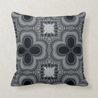 Black and White Four Petal Flower Abstract Pillow