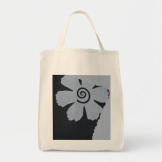 Black and white fower with swirl tote bag