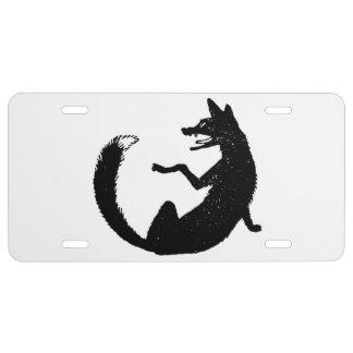 Black and White Fox Emblem Symbol License Plate