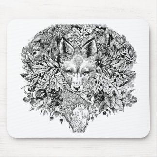 Black and white fox in the forest mouse pad