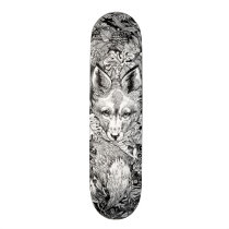Black and white Fox   nature Skate Deck Skateboard