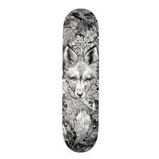 Black and white Fox + nature Skate Deck Skateboard