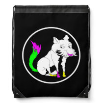 Black and White Fox With a Shocking Pink Tail Drawstring Bag