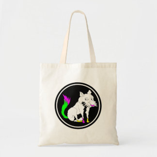 Black and White Fox With a Shocking Pink Tail Tote Bag