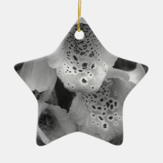 black and white foxglove photograph ceramic ornament
