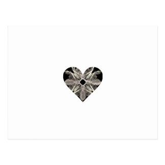 Black and White Fractal Art Heart Shape Postcard