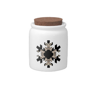 Black and White Fractal Art Snowflakes Candy Jar