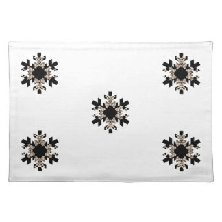 Black and White Fractal Art Snowflakes Cloth Placemat