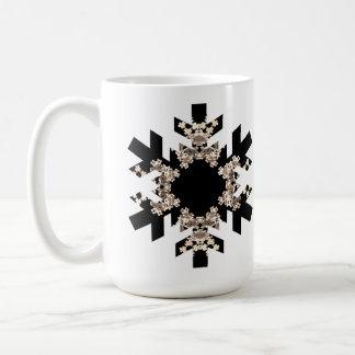 Black and White Fractal Art Snowflakes Coffee Mug