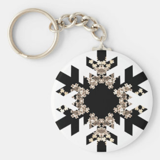 Black and White Fractal Art Snowflakes Keychain