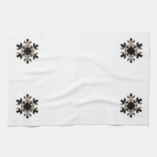 Black and White Fractal Art Snowflakes Kitchen Towels
