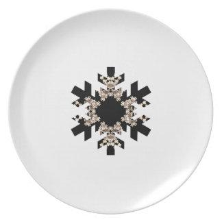 Black and White Fractal Art Snowflakes Melamine Plate