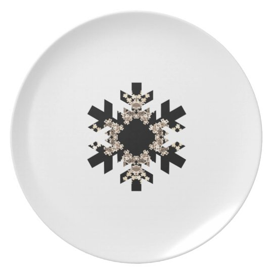 Black and White Fractal Art Snowflakes Melamine Plate