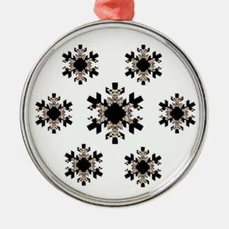 Black and White Fractal Art Snowflakes Metal Ornament