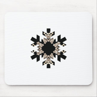 Black and White Fractal Art Snowflakes Mouse Pad