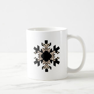 Black and White Fractal Art Snowflakes Mugs