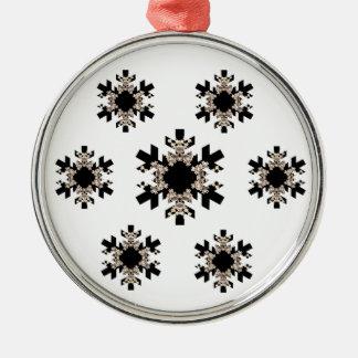 Black and White Fractal Art Snowflakes Christmas Tree Ornament