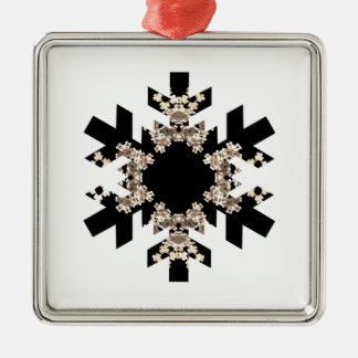 Black and White Fractal Art Snowflakes Christmas Ornaments