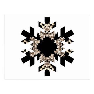 Black and White Fractal Art Snowflakes Postcard