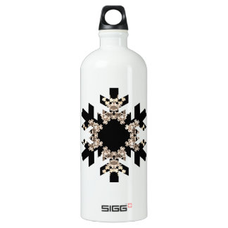 Black and White Fractal Art Snowflakes Water Bottle