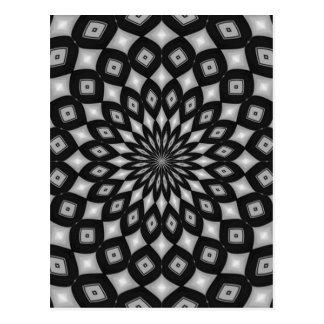 Black and White Fractal Design Postcard