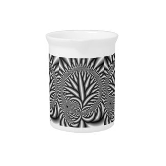 Black and white Fractal Drink Pitcher
